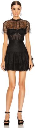 Jonathan Simkhai Lace Bustier Mini Ruffle Dress in Black | FWRD