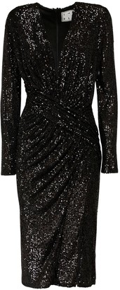 In The Mood For Love Dalida Sequined Velvet Midi Dress