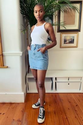 Topshop Mid Stone Denim Paperbag Mini Skirt