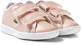 Lacoste Pale Pink Infants Carnaby Velcro Trainers