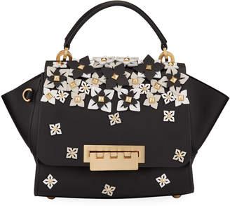 Zac Posen Eartha Top Handle Studded Floral Satchel Bag
