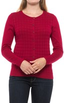 August Silk Windowpane Textured Cardigan Sweater (For Women)