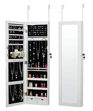 Fineboard LED Wall Mounted Jewelry Cabinet with Mirror and 2 Small Drawers