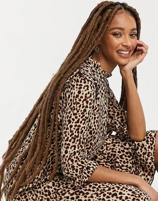 New Look frill shoulder midi dress in brown animal pattern