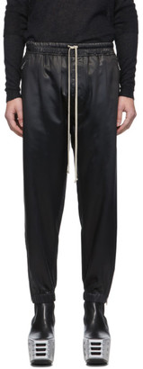 Rick Owens Black Satin Cropped Lounge Pants