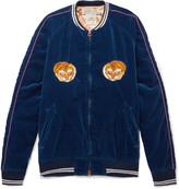 Remi Relief Appliquéd Cotton-Velvet Bomber Jacket