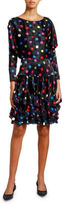 Giorgio Armani 3/4-Sleeve Polka-Dot Ruffle Dress