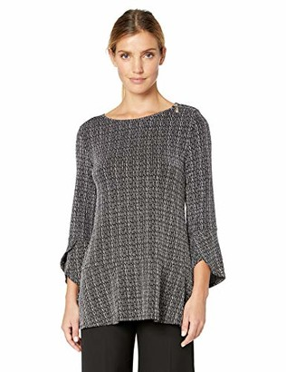 Chaus Women's 3/4 Sleeve Sparkle Stripe Zip Shoulder Top