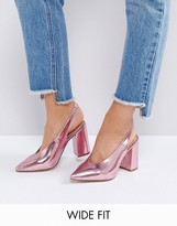 New Look Wide Fit Metallic Pointed Sling Back Heeled Shoe
