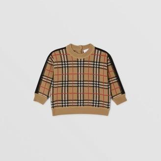 Burberry Childrens Check Merino Wool Jacquard Sweater