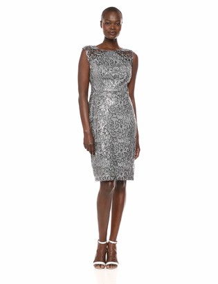 Ignite Women's Sequined Lace Short Dress Grey 6