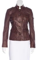 Tory Burch Mock Neck Leather Jacket