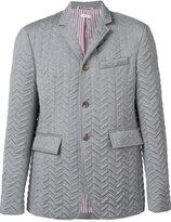 Thom Browne jacquard padded blazer - men - Wool/Goose Down - II