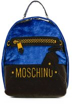 Moschino mini trompe-l'oeil logo backpack - women - Velvet - One Size