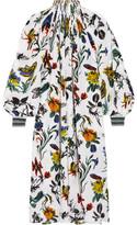 Tibi Oversized Floral-print Silk Crepe De Chine Midi Dress - Ivory