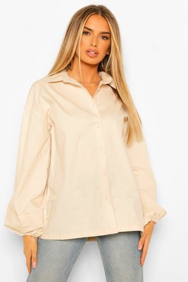 boohoo Pleated Extreme Puff Sleeve Poplin Shirt