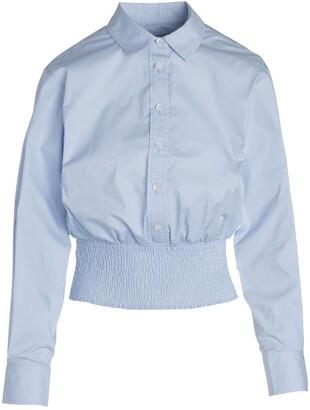 Smocked Hem Button-Up Shirt