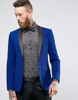 Asos Super Skinny Blazer in Blue Glitter Fabric