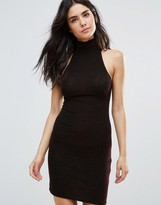 Oh My Love High Neck Lurex Bodycon Dress