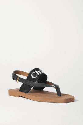 Chloé Logo-print Canvas And Leather Sandals - Black
