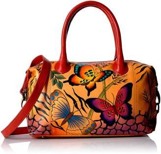 Anuschka Anna by Women's Genuine Leather Medium Satchel | Hand Painted Original Artwork | Zip-Top Organizer | Animal Butterfly Tangerine