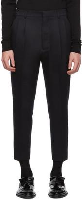 Ami Alexandre Mattiussi Navy High-Waisted Trousers