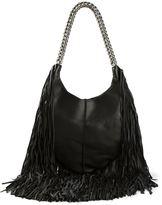 olivia palermo  Who made Olivia Palermos blue sunglasses and black leather fringe handbag?