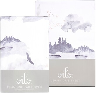 Oilo Misty Mountain Changing Pad Cover & Fitted Crib Sheet Set