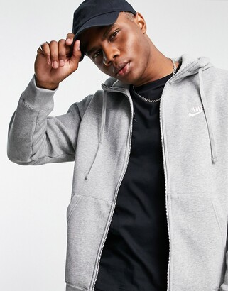 Nike Club zip up hoodie in grey