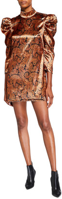 Cinq à Sept Karen Long-Sleeve Paisley Mini Dress