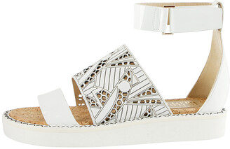 Nicholas Kirkwood White Laser-Cut Leather Peter Pilotto Ankle Strap Flat Sandals Size 37.5
