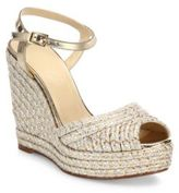 Jimmy Choo Perla 120 Metallic Raffia & Leather Espadrille Wedge Sandals