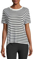 Alexander Wang Short-Sleeve Striped Slub Jersey Tee with Back Detail