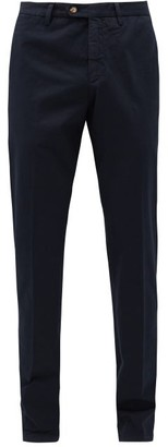 Thom Sweeney - Front-pleated Cotton-blend Twill Trousers - Navy