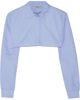 Nina Ricci Cropped Cotton-poplin Shirt - Light blue