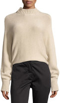 Rosetta Getty Cropped Mock-Neck Oversized Sweater, Beige