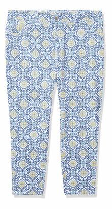 Rafaella Women's Comfort Fit Pool Tile Print Skinny Leg Crop Pant