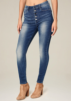 Bebe Front Button Skinny Jeans