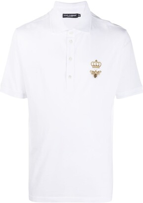 Dolce & Gabbana Cotton-Mix Polo Shirt With Embroidered Emblem