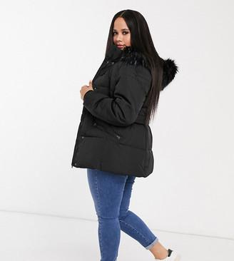Lovedrobe padded coat with faux fur trim in black