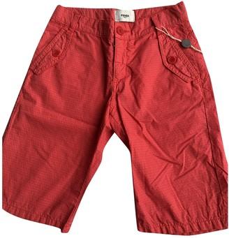 Fendi Red Cotton Shorts