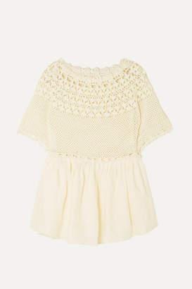 Innika Choo Paue Würful Crocheted Linen Top - Cream
