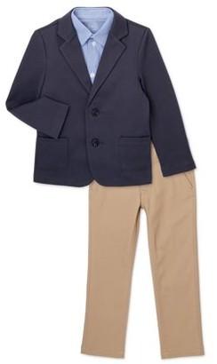 Wonder Nation Boys Suit Set with Knit Blazer, Button Down Shirt, & Twill Pants, 3-Piece, Sizes 4-16 & Husky