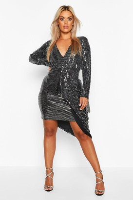 boohoo Plus Metallic Plunge Drape Midi Dress