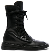 Ann Demeulemeester Leather Combat Boots in Black.
