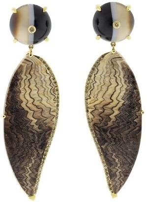 GUITA M 18kt Yellow Gold Diamond Fossil Sequoia Earrings