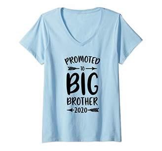 Womens Promoted to Big Brother est 2020 Vintage Kids V-Neck T-Shirt