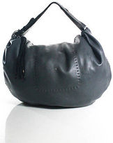 Henry Beguelin Black Leather Buckle Detail Hobo Handbag Extra Large