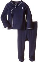 Ralph Lauren Cotton Interlock Solid Kimono Two-Piece Pants Set (Infant)