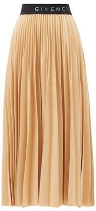 Givenchy Logo-waist Pleated-faille Midi Skirt - Beige